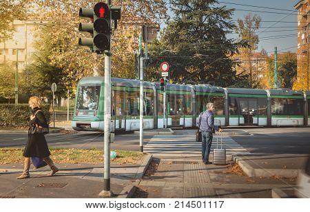 Tram From The Company Azienda Trasporti Milanesi Circulating In Milan