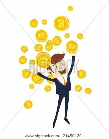 Funny Businessman Celebrating Success With Tossing Cryptocurrency Bitcoins. Vector Illustration