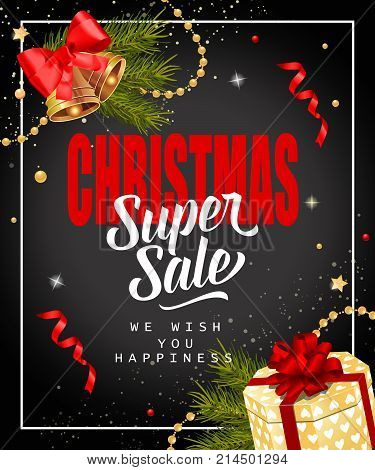 Christmas super sale lettering decorated with bells, fir sprigs and present box. Inscription can be used for leaflets, festive design, posters, banners