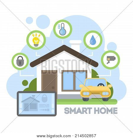 Smart home illustration. Tablet controlling all the home activities.