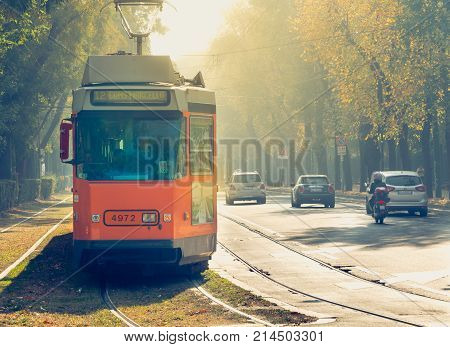 Old Tram Line 12 Of The Company Azienda Trasporti Milanesi Circulating In Milan