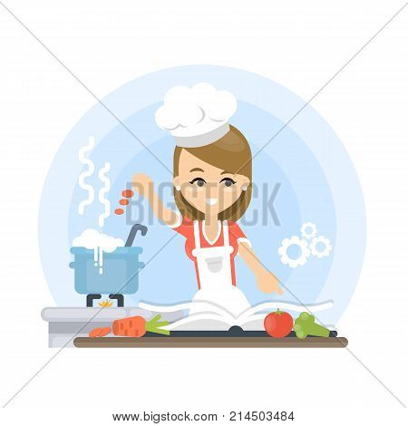 Woman teaching to cook. Happy smiling woman with cookbook.