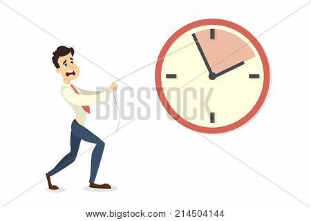 Deadline concept illustration. Businessman pushing the clock arrow to delay.