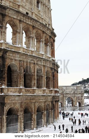 ROME - FEB 4: Colosseum after the heavy snowfall on February 4 2012 in Rome. The last snowfall in Rome was in 1985