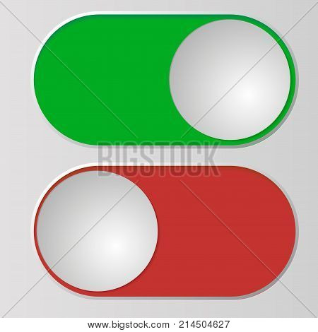 Flat icon On and Off Toggle switch button vector format.