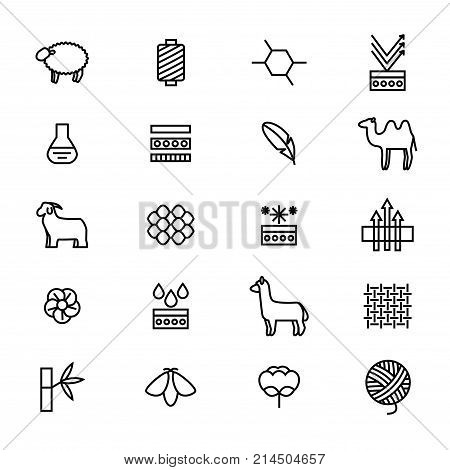 Symbols of Fabric Feature Thin Line Icon Set Include of Cotton, Silk Bamboo and Wool. Vector illustration of Alpaca, Lama and Sheep