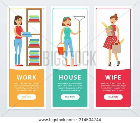 Work, house, wife banners set, housekeeping and housework flat vector element for website or mobile app with sample text
