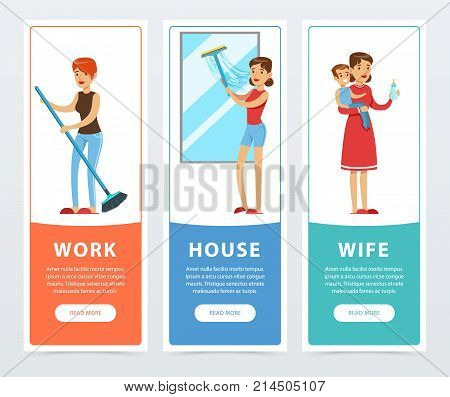 Work, house, wife banners set, housewife cooking and caring for children flat vector element for website or mobile app with sample text