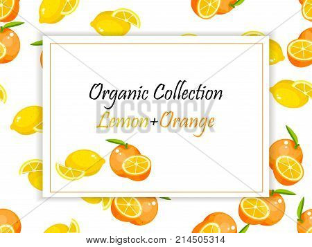 Colorful vintage lemon and orange label poster vector illustration. symbol for jam and juice product label or grocery store, shop and farm market design. Vector square label, lemon and orange jam, sauce or juice label