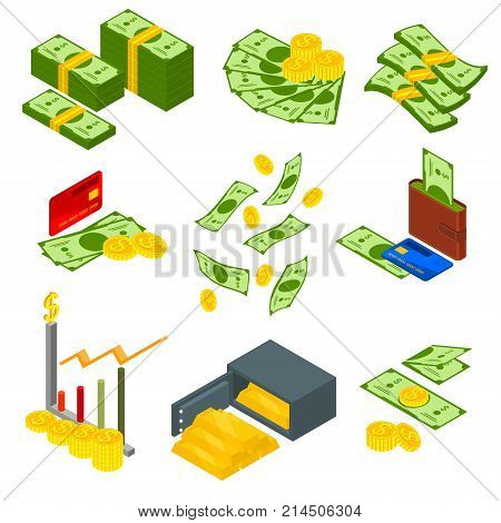 Money Signs Icons Set Isometric View Include of Coin, Dollar Stack, Graph, Plastic Credit Card, Wallet and Safe. Vector illustration