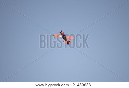 ROME - JUNE 29: The french pilot Nicolas Ivanoff performs on a Extra 330LX Team Hamilton at the Rome International Air Show on June 29 2014 in Rome Italy
