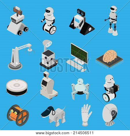 Smart Technologies Devices Icons Set Isometric View on a Blue Background Innovation Futuristic System Equipment Ai, Robot and Arm. Vector illustration