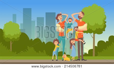 Happy tired parents with many children on city background, flat vector illustration, web banner