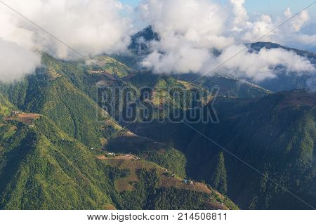 View of the Lower Himalayan Range Mahabharat Range in Nepal from the bird's eye.