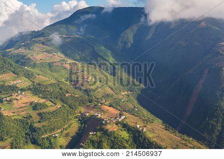 View of the Lower Himalayan Range Mahabharat Range in Nepal from the bird's eye.