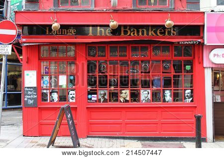 DUBLIN IRELAND - SEPTEMBER 5 2016: The Bankers Lounge on September 5 2016 in Dublin. The Bankers Lounge is a famous landmark in Dublins cultural quarter visited by thousands of tourists every year