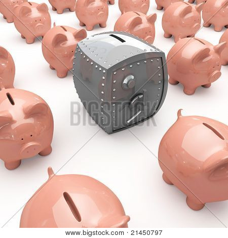Piggy banks and a safe