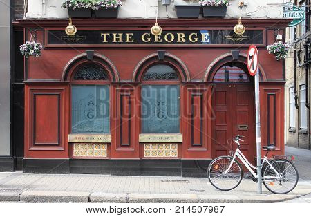 DUBLIN IRELAND - SEPTEMBER 5 2016: The George Bar on September 5 2016 in Dublin. The George Bar is a famous landmark in Dublins cultural quarter visited by thousands of tourists every year