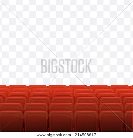Cinema, movie time. Cinema or theater hall. Movie cinema premiere poster design with red curtains. Cinema hall, wood podium, red chairs, widescreen on transparent background. Vector illustration.