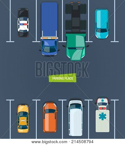 City car parking place, parking zone. Top view parked cars in parking zone. Different types cars and urban traffic transportation, outdoor public auto park on the city street. Vector illustration.