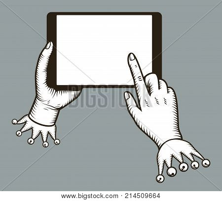Hands holing tablet computer with tap finger on blank screen. Digital tablet pc similar to ipad. Using tablet for online purchasing, E-commerce. Stylized old engraving, retro, vintage, design concept.