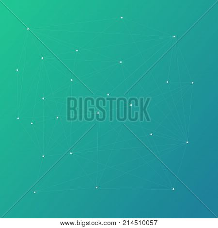 Abstract polygonal mash gradient background with connecting dots and lines. Connection structure. Vector science background.