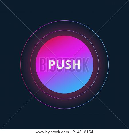 Ui circle flat design for site Push Button.Vector illustration with colorful gradient or color transition mobile devices, icons, banner more