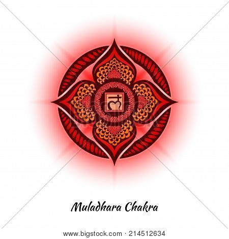 Muladhara chakra symbol used in Hinduism, Buddhism, Ayurveda. The root chakra design for yoga studios, posters, banners, v-cads