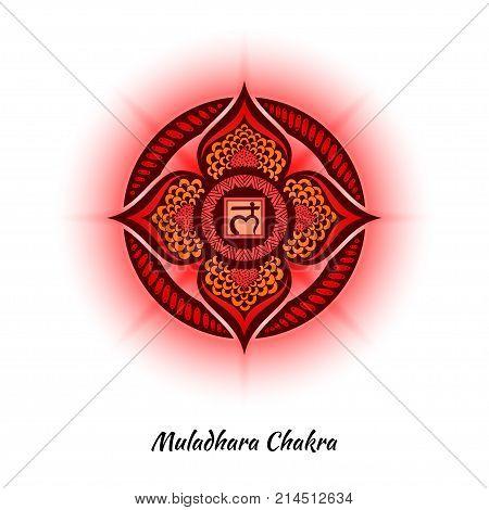 Muladhara chakra symbol used in Hinduism, Buddhism, Ayurveda. The root chakra design for yoga studios, posters, banners, v-cads