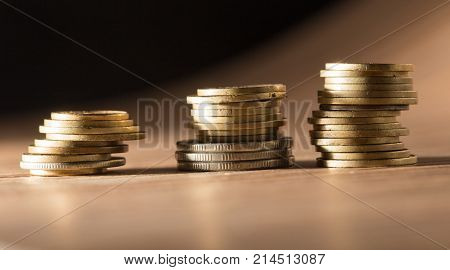 coins on the table. close-up . Photos in the studio
