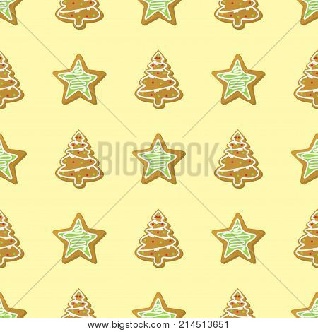 Sweet Christmas seamless pattern background cake cookie traditional sweet cake holliday vector. Cake for New Year food fresh gourmet biscuit delicious.