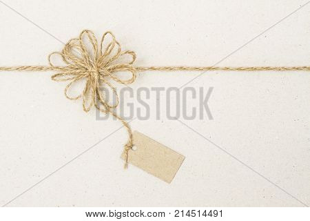 Paper Tag Label and Rope Bow Decoration Gift Wrapping Paper with Twine String Ribbon poster