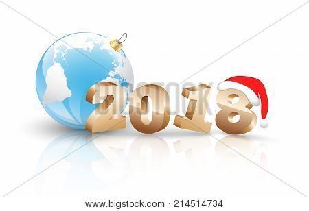 2018 Happy New Year Background with 3d figures for Greetings Card or Christmas themed invitations. Including nambers, ball with world map, santa claus cap and others elements and reflect on white background. Used a clipping mask.