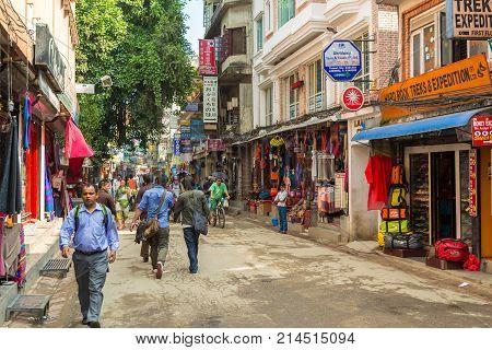 Kathmandu, Nepal - September 23, 2013: Thamel, Commercial Neighborhood In Kathmandu, The Capital Of
