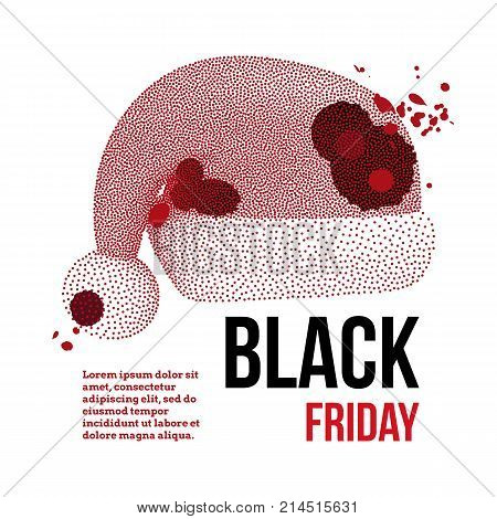 Black Friday Sales Dotwork Halftone Banner with Bloody Santa Claus Hat. Engraving Vector Illustration.
