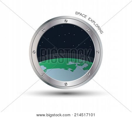 View from spaceship. Cartoon illustration of flight window, stars, earth, Outer space. Vector porthole.