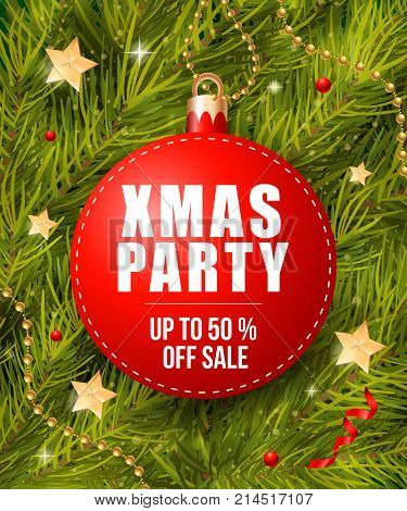 Xmas party and up to fifty percent sale lettering on bauble-shaped tag with fir sprigs. Inscription can be used for leaflets, festive design, posters, banners.