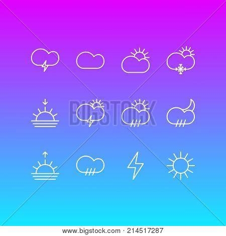 Vector Illustration Of 12 Weather Outline Icons. Editable Set Of Sunny, Windstorm, Lightning And Other Elements.