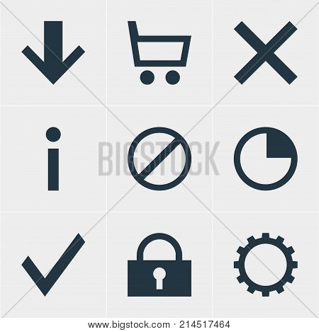 Vector Illustration Of 9 Member Icons. Editable Set Of Padlock, Info, Downward And Other Elements.