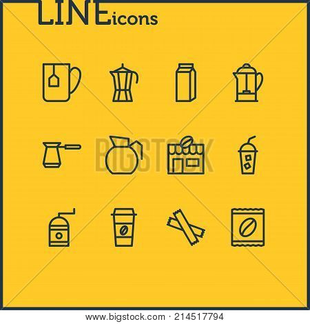 Vector Illustration Of 12 Drink Outline Icons. Editable Set Of House, Mill, Sweetener And Other Elements.