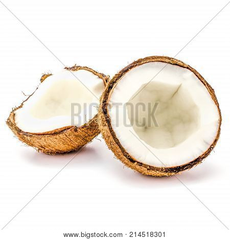 close up of broken coconuts isolated on white background. coco fruit, product or package design element
