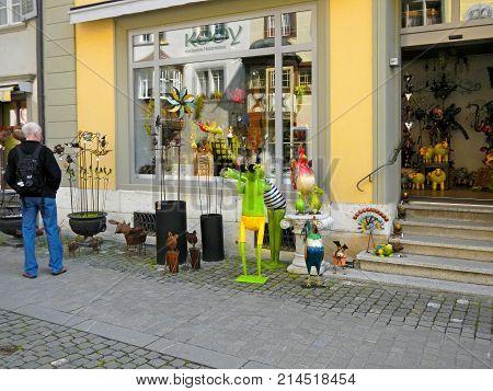 STEIN AM RHEIN, SWITZERLAND - MAY 5, 2013: Fun toys and home decor in small souvenir shop Stein am Rhein, Switzerland