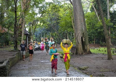 BALI, INDONESIA - OCTOBER 1, 2016: Balinese women in traditional clothes loads the ceremonial offering of food in wooden jar on head in Bali, Indonesia.