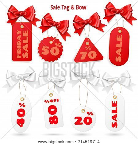 Set of white and red sale price tags and lables with realistic bows isolated on white background. Sales tags and bow