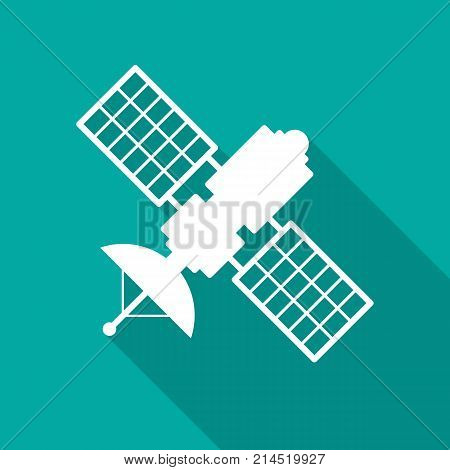 Satellite icon with long shadow. Flat design style. Satellite simple silhouette. Modern minimalist icon in stylish colors. Web site page and mobile app design vector element.