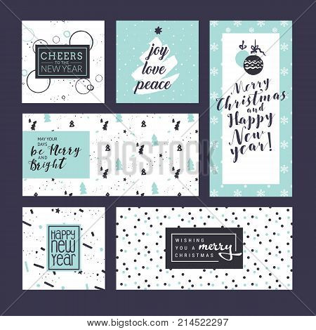 Collection of Christmas and New Year greeting cards and web banners. Flat design vector illustration concepts for greeting cards, web banner, flayer brochure, party invitation card.