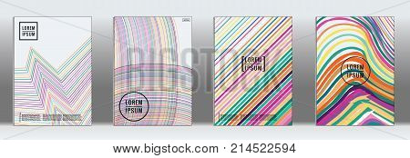 Minimal Cover. Vector Iridescent Rainbow Geometric Abstract Line Pattern for Poster Design. Set of Minimal Covers for Business Brochures. Banner Background. Graphic Pattern for Annual Album Backdrop.