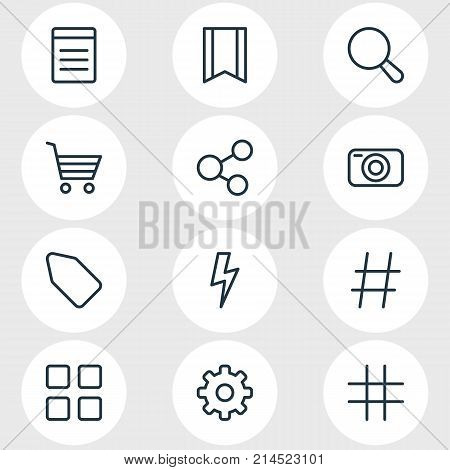 Vector Illustration Of 12 Annex Outline Icons. Editable Set Of Cube, Pennant, Gear And Other Elements.