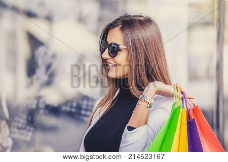 Woman Looking At The Store