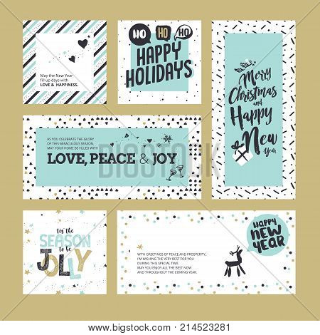 Flat design style Christmas and New Year greeting cards. Vector illustration templates for greeting cards, web banner, flayer brochure, party invitation card.